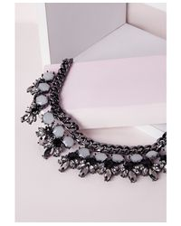 Missguided | Metallic Statement Chunky Pendant Necklace Pewter | Lyst