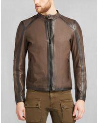 Belstaff - Lymington Zip Through Jacket In Russet Brown Mix Calf for Men - Lyst