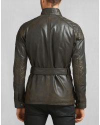 Belstaff - Black Blaster Distressed Waxed Cotton-blend Jacket for Men - Lyst