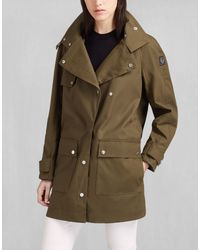 Belstaff - Sailmaster Hooded Parka In Military Green Dry Waxed Cotton - Lyst