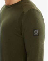 Belstaff - Green Kerrigan Crewneck Jumper for Men - Lyst