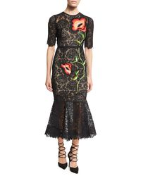Lela Rose | Black Floral-embroidered Lace Flounce Midi Dress | Lyst