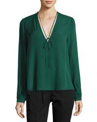 A.L.C. - Green Kirk V-neck Long-sleeve Blouse - Lyst