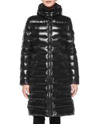Moncler - Black Moka Shiny Fitted Puffer Coat With Hood - Lyst