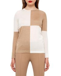 Akris | Natural Colorblock Crewneck Sweater | Lyst