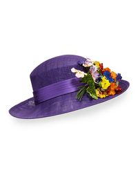 Philip Treacy | Purple Straw Hat W/ Pansies | Lyst