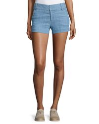 Alice + Olivia - Blue Cady Chambray Shorts - Lyst