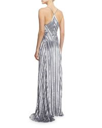 Galvan - Gray Striped Silk & Velvet V-neck Gown - Lyst
