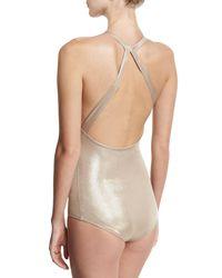 Halston Heritage | Multicolor Anjelica Metallic Jersey Bodysuit | Lyst
