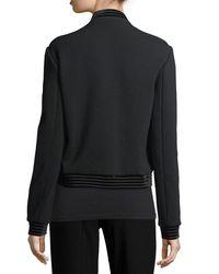 Elie Tahari - Black Brandy Velvet-trim Calf Hair Bomber Jacket - Lyst