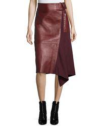 3.1 Phillip Lim - Red Leather-Wool Flight Detail Skirt - Lyst