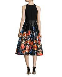 Carmen Marc Valvo - Black Sleeveless Combo Floral Midi Cocktail Dress - Lyst