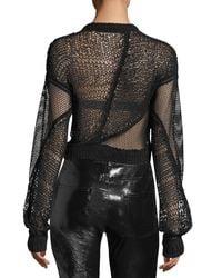Helmut Lang - Black Siouxie Crewneck Long-sleeve Open-knit Sweater - Lyst