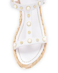 Stuart Weitzman - White Beraffia Pearly Napa Platform Wedge Sandal - Lyst