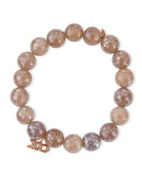 Sydney Evan | 10mm Faceted Gray Chalcedony Bracelet W/ 14k Rose Gold Diamond Xo Charm | Lyst