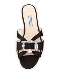 Prada - Black Flat Slide Sandal With Jeweled Buckle - Lyst