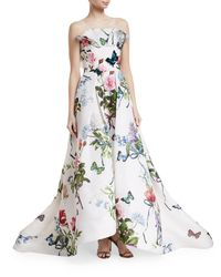 Monique Lhuillier - White Ruffle-neck Floral-print Evening Gown With Train - Lyst