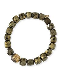 Sydney Evan | Metallic 8mm Cubed Pyrite Beaded Bracelet W/ 14k Diamond Buddha Bead | Lyst