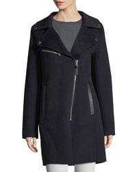 10 Crosby Derek Lam - Blue Notched-collar Zip-front Wool-blend Coat - Lyst