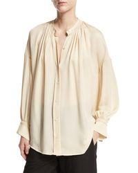 Vince - White Shirred Handstitch Silk Blouse - Lyst