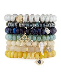 Sydney Evan - Multicolor 8mm Labradorite Beaded Bracelet With Diamond & Sapphire Hamsa Charm - Lyst