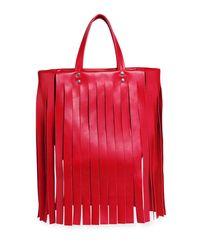 Balenciaga - Red Laundry Cabas Xs Fringe Satchel Bag - Lyst