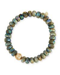 Sydney Evan - Gray Mystic Dark Aqua Beaded Bracelet With Diamond Bezel Ball Charm - Lyst