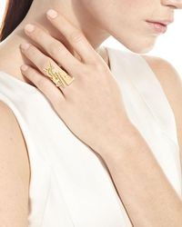 Saint Laurent - Metallic Deconstructed Monogram Golden Ring - Lyst