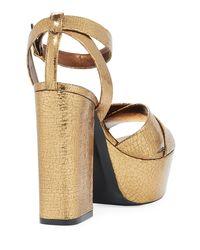 Saint Laurent - Farrah Crackled Metallic Leather Platform Sandal - Lyst