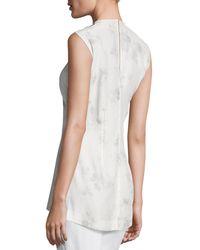 CALVIN KLEIN 205W39NYC - Gray Flower-print Silk Shell Top - Lyst