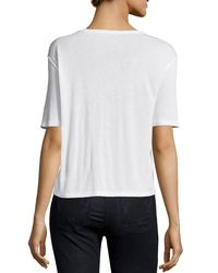 T By Alexander Wang - White Classic Cropped Tee W/ Pocket - Lyst