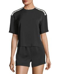 Alice + Olivia Black Wilcox Roll-sleeve Tee With Stripes Detail