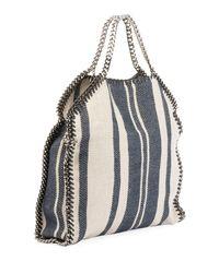 064f4a30e807 Lyst - Stella Mccartney Striped Canvas Chain Falabella Tote Bag in Blue