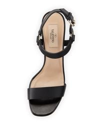 Valentino - Black Rockstud Quilted City Sandal - Lyst