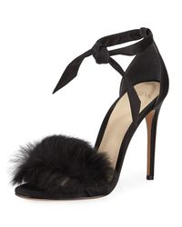 Alexandre Birman - Black Clarita Rabbit Fur Sandal - Lyst