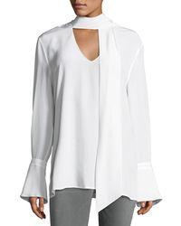 Equipment - White Jacqueleen Bell-cuff Tie-neck Silk Blouse - Lyst