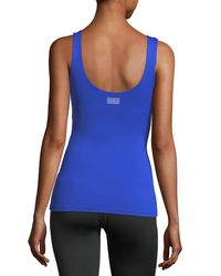 Monreal London - Blue Victory Scoop-neck Fitted Performance Tank - Lyst
