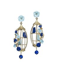 Of Rare Origin - Blue Lovebirds Lapis & Turquoise Drop Earrings - Lyst