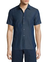 Orlebar Brown - Blue Morton Chambray Tailored Short-sleeve Sport Shirt for Men - Lyst