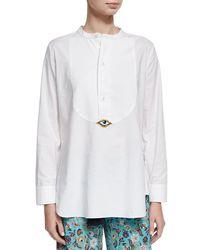 Figue - White Evil Eye Tuxedo Shirt - Lyst