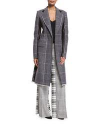 Calvin Klein | Black Mixed-plaid Wool Coat W/leather Trim | Lyst