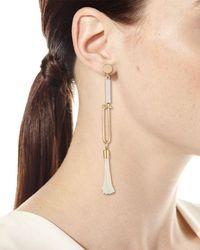 Chloé - Metallic Ostrich Feather Drop Earrings - Lyst