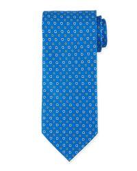 Ferragamo - Blue Gancini-print Silk Tie for Men - Lyst