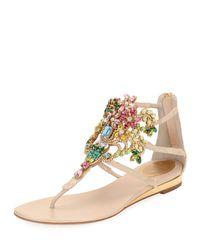 Rene Caovilla - Natural Embellished Lace Leather Sandal - Lyst