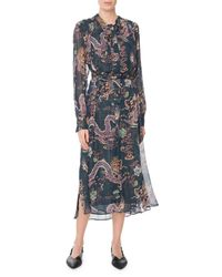 Isabel Marant - Blue Long-sleeve Dragon-print Metallic-silk Midi Dress - Lyst
