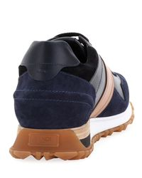 Fendi - Blue Logo Leather & Suede Training Sneaker for Men - Lyst