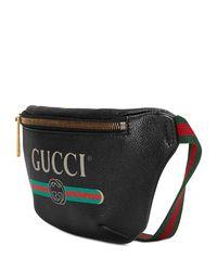 Gucci - Black Print Leather Belt Bag for Men - Lyst