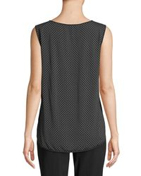 Max Mara - Black Eccelso Sleeveless Keyhole Dot-print Silk Blouse - Lyst