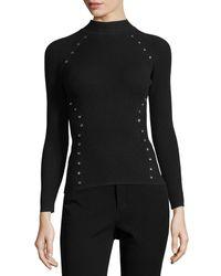 Thierry Mugler | Black Star-stud Mock-neck Sweater | Lyst