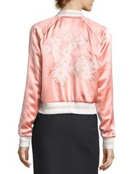Elizabeth and James - Black Willa Embroidered Colorblock Bomber Jacket - Lyst